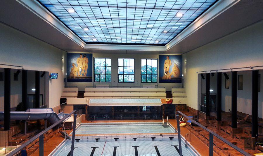 Wilhelm Lundstrøms fantastiske mosaikker som pryder Frederiksberg Svømmehal og udsigten fra femmetervippen. //Foto: Lise Haar Nielsen & Nanna Claudius Bergø