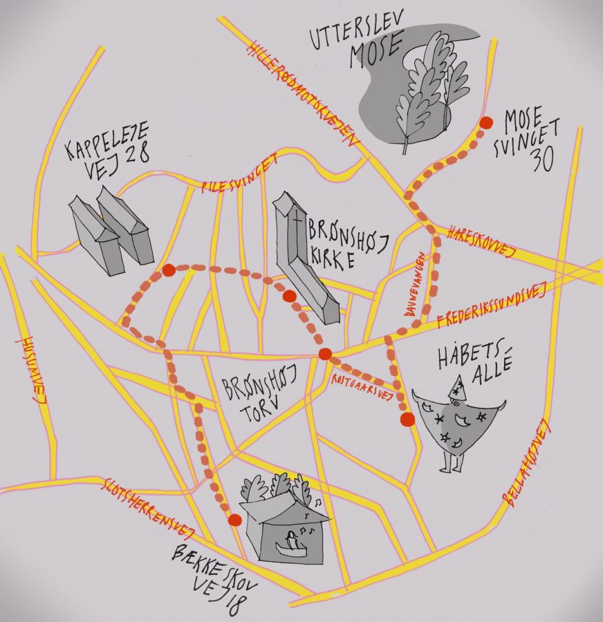 Hvis du selv vil opleve Brønshøj så følg prikkerne på kortet, og gør vandringen til en vaskeægte skattejagt. //Emma Sloth
