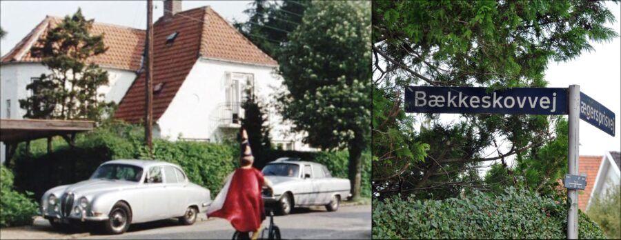 Buster er boblende og fuld af energi på vej til fest på Bækkeskovvej 18. - Billedet til højre har Karin Skaarup knipset som bevis på, at vi fandt Bækkeskovvej.
