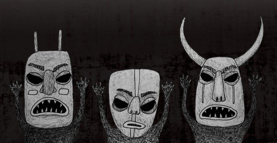 Dødsmasker. //Illustration: Anja Oxager